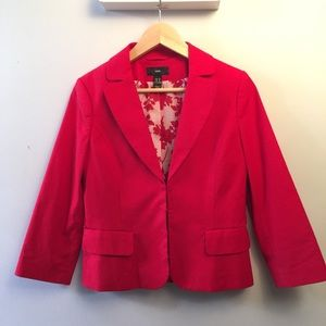 H&M Bright Red Lined Blazer 3/4 Sleeve size 8